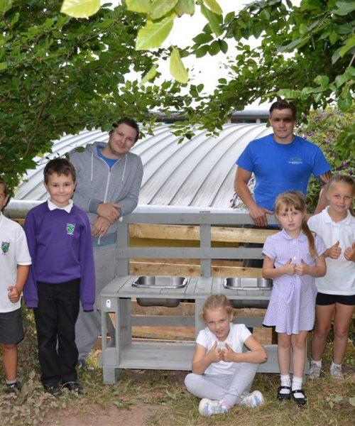 Local Dads Build Mud Kitchen For Abergavenny School
